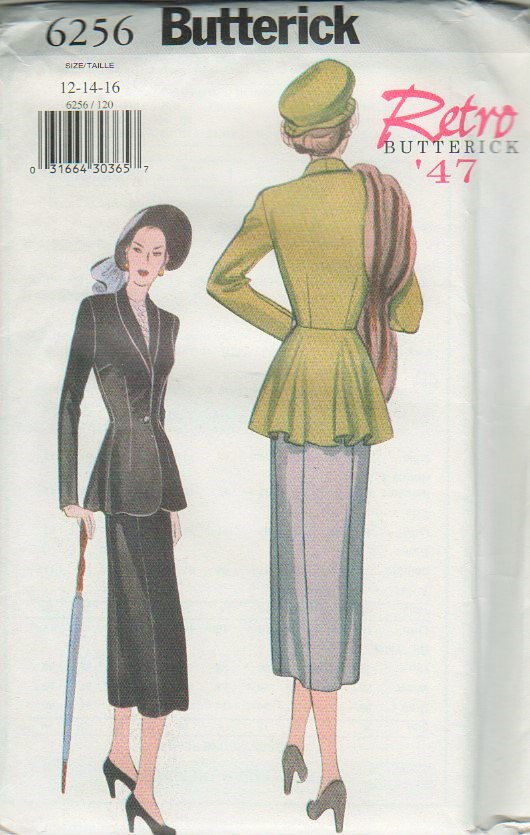 Butterick 6256 UNCUT Retro 47  Misses' Jacket and Skirt Sewing Pattern  size 12 14 16