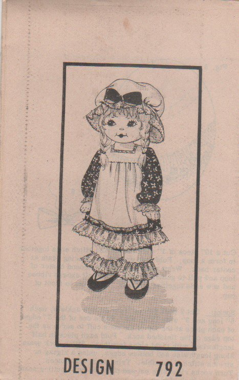 """VINTAGE Uncut Mail Order Pattern 792, Approximately 25"""" Tall Stuffed, Rag Doll, Dress and Pantaloons"""