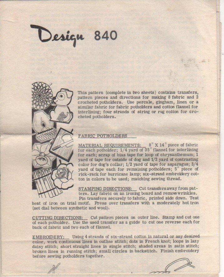 VINTAGE Uncut Mail Order Pattern 840 Vintage Pot Holders Sewing and Crochet