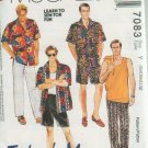McCALL'S 7083 MENS HAWAIIAN SHIRT TANK TOP & PULL ON PARACHUTE PANTS  or SHORTS SEWING PATTERN