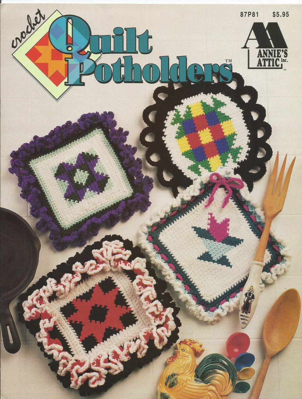 Quilt Pot holders hot pads trivets Annie's Attic 87P81 Crochet Pattern Instructions PotHolders