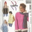 McCall's 3805 Size 3/4 to 9/10  NYNY  uncut Junior Jacket Vest Ski Hat