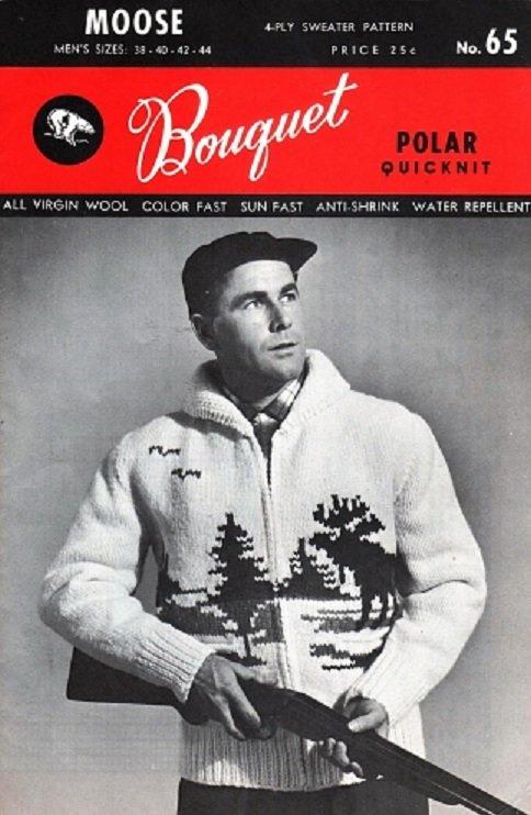Bouquet Polar 65 Quicknit Men's 4 Ply Cardigan Moose Graph Style Knitting Pattern