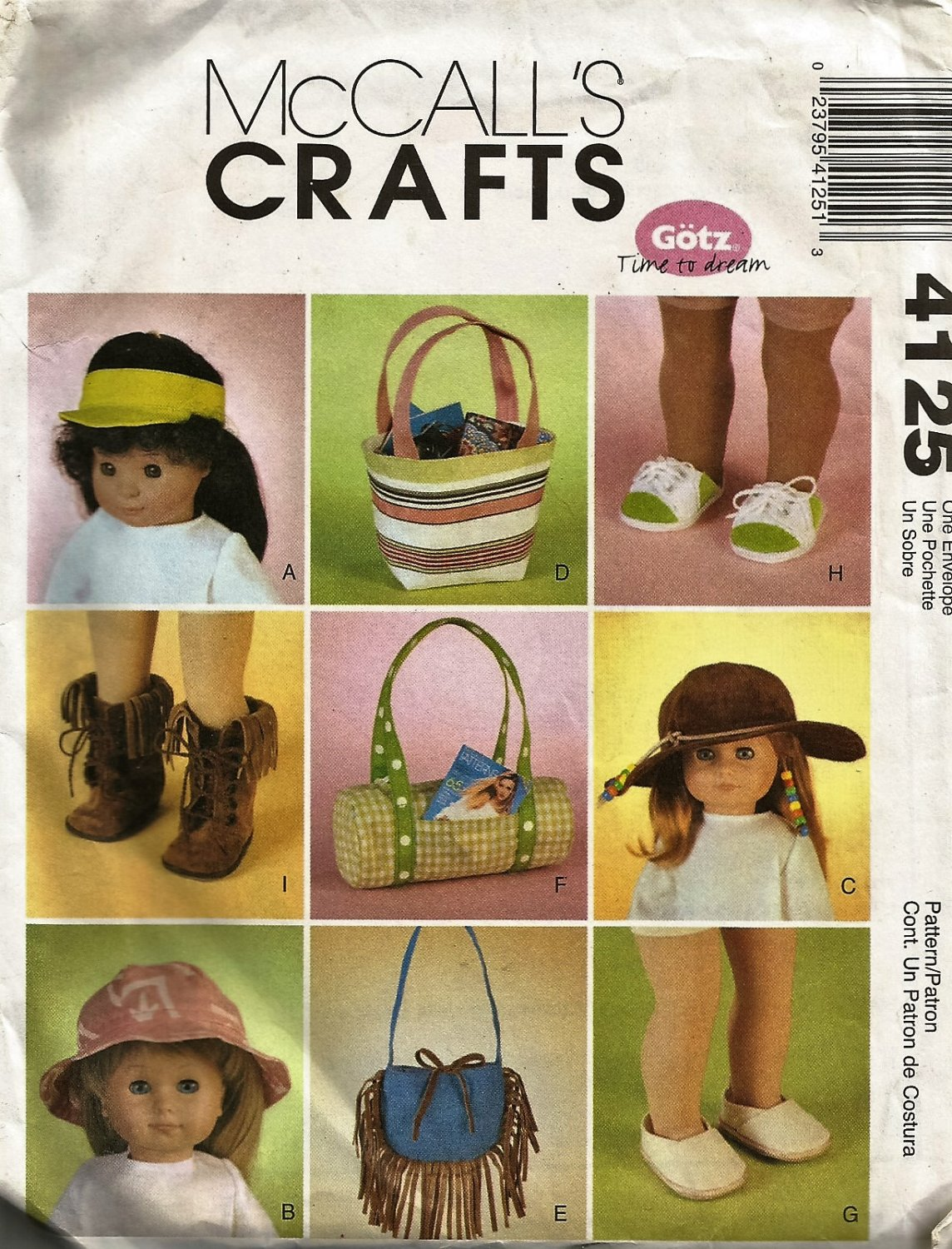 """18"""" Doll Accessories McCall's Crafts Sewing Pattern 4125  Hats shoes bags purses"""