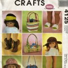 "18"" Doll Accessories McCall's Crafts Sewing Pattern 4125  Hats shoes bags purses"