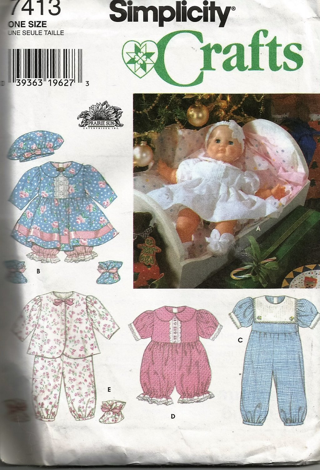 Simplicity 7413 Baby Doll Clothes sewing pattern for 20 inch doll
