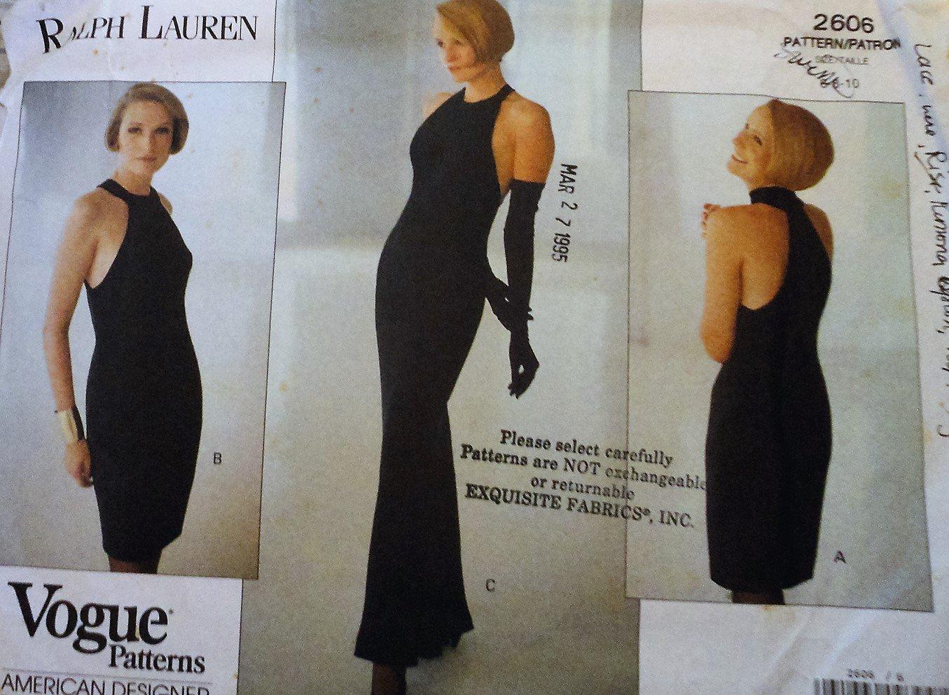Vogue Sewing Pattern 2606 Ralph Lauren Dress  size 6 8 10
