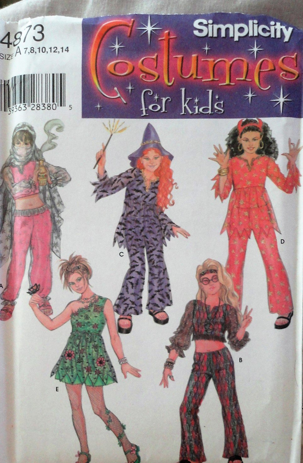 Simplicity 4873  Costume Sewing Pattern For Child sizes 7-14 Fairy, witch