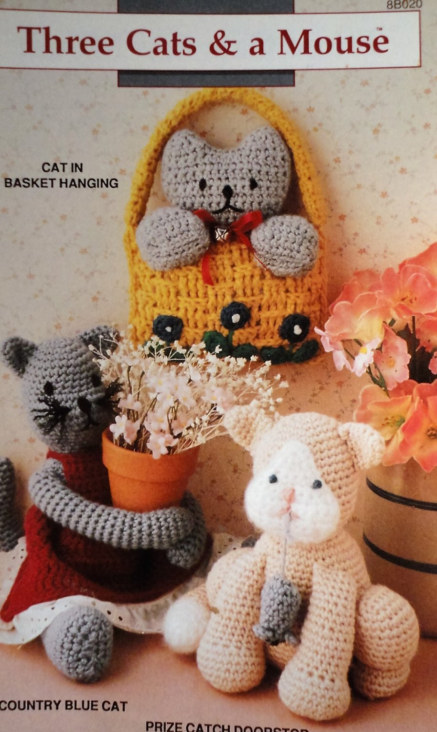 Annie's Attic  8B020 Three Cats & a Mouses Crochet Pattern