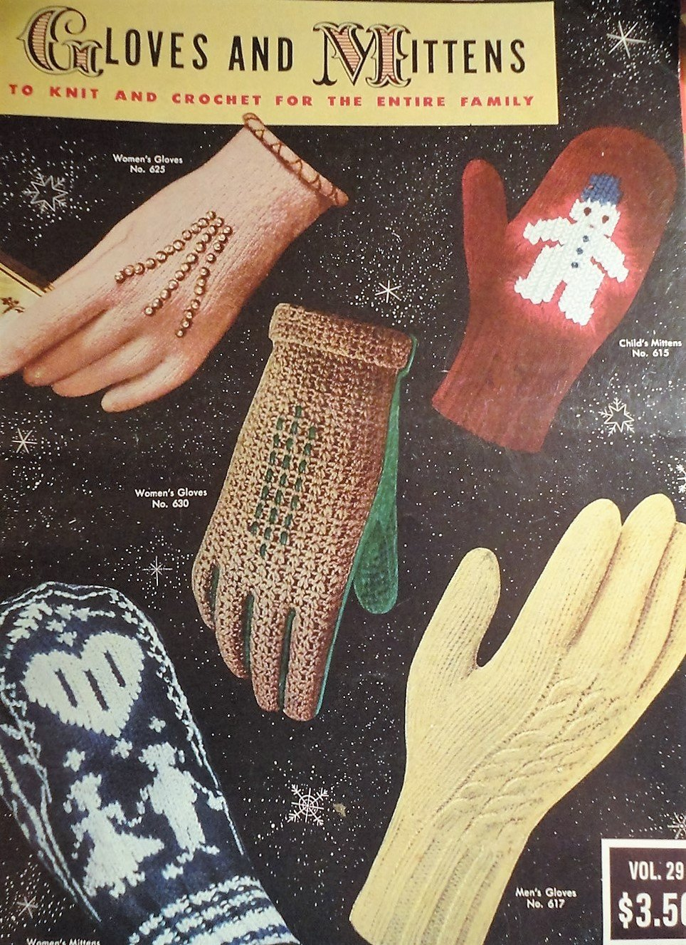 Vintage Gloves and Mittens to Knit & Crochet for the Entire Family VOL 29 1953 Pattern