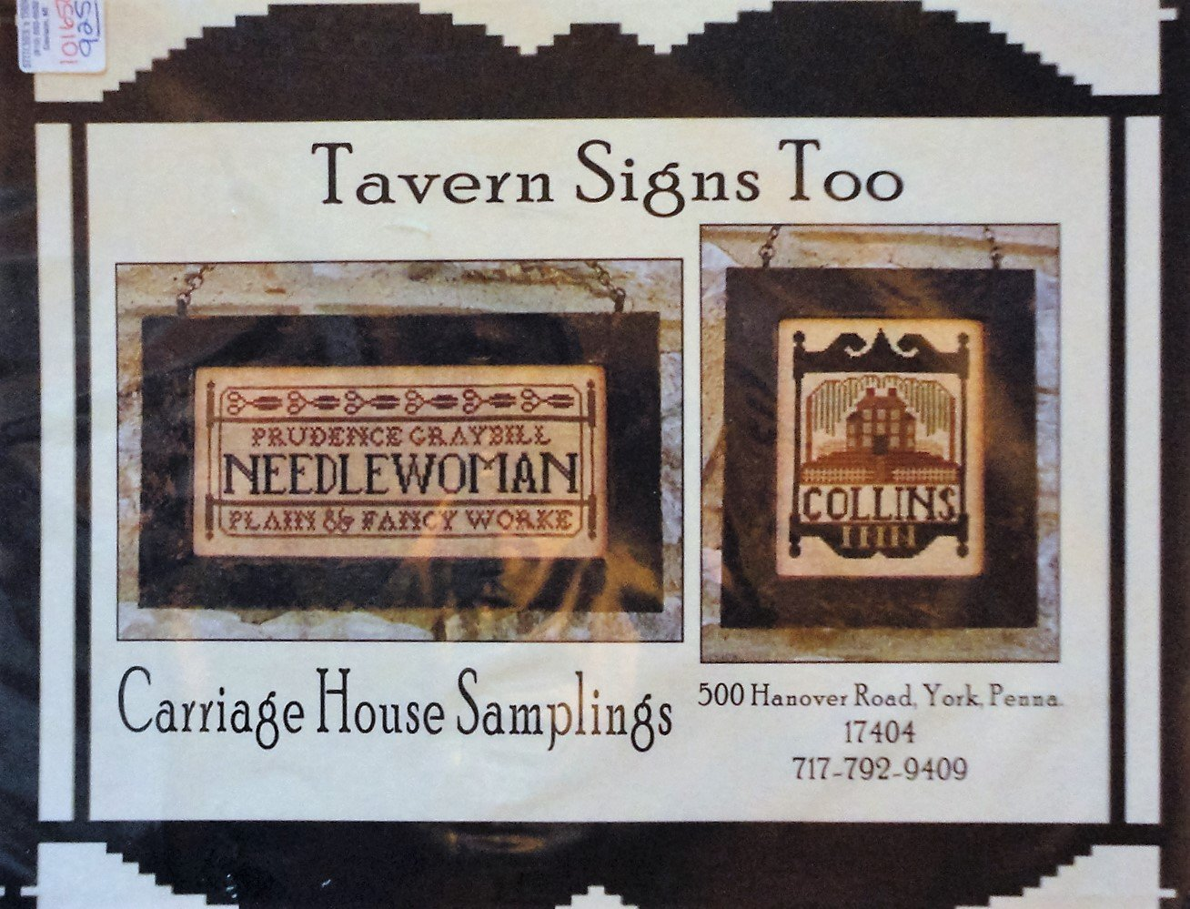 Carriage House Samplings Tavern Too Signs Cross Stitch Chart