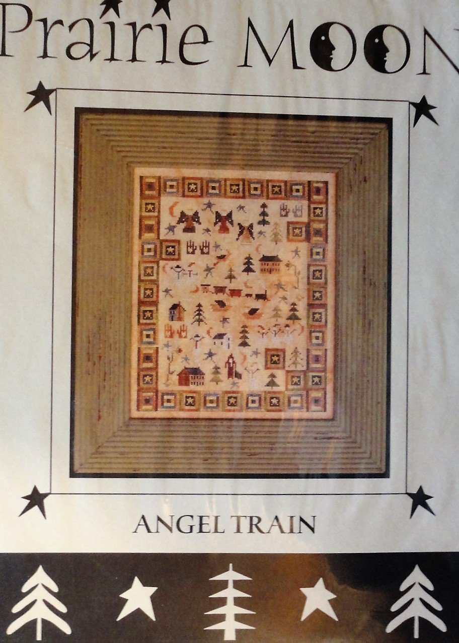 Prairie Moon Angel Train Primitive Sampler Cross Stitch Chart