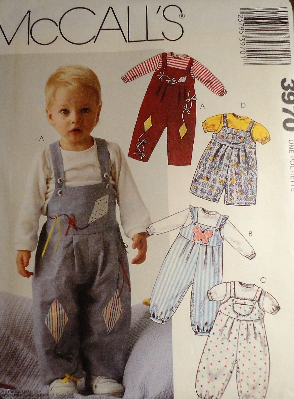 McCall's 3970 Infant, Toddler overalls and top pattern sizes small, medium, large