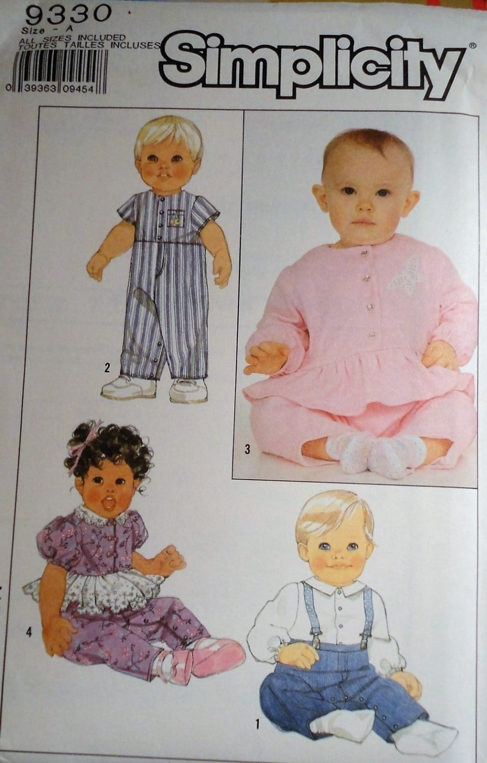 Simplicity 9330 Baby top, overalls, jumpsuit and pants sizes small to large Sewing Pattern
