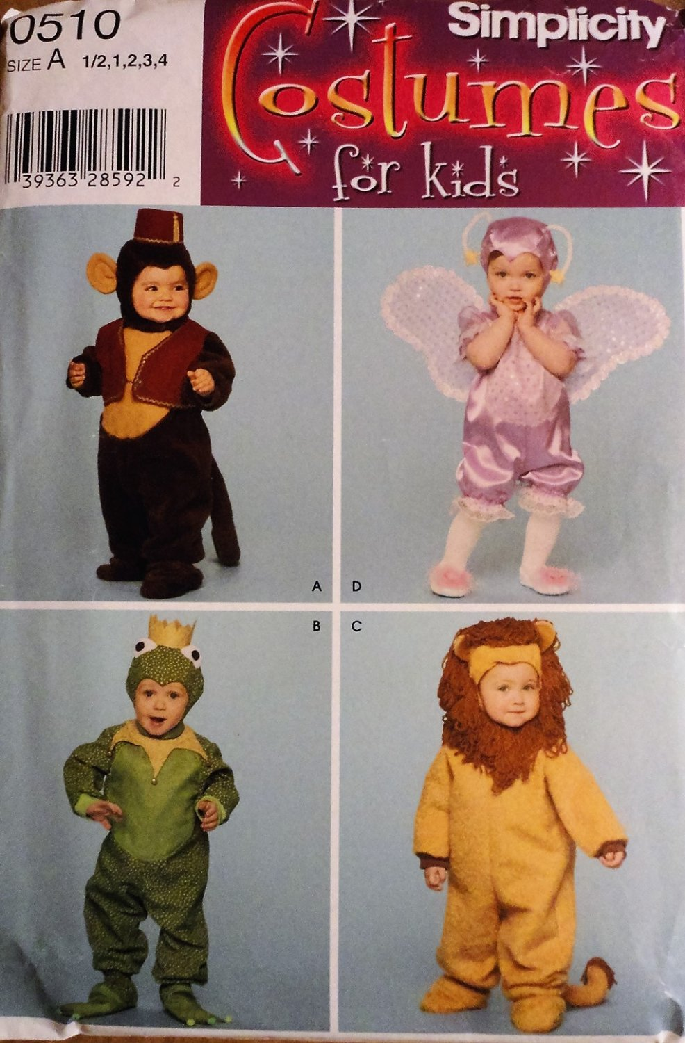 Simplicity 0510 sewing pattern Costumes forToddler Boy Girls costumes Sizes A, 6 mos, 1,2,3,4