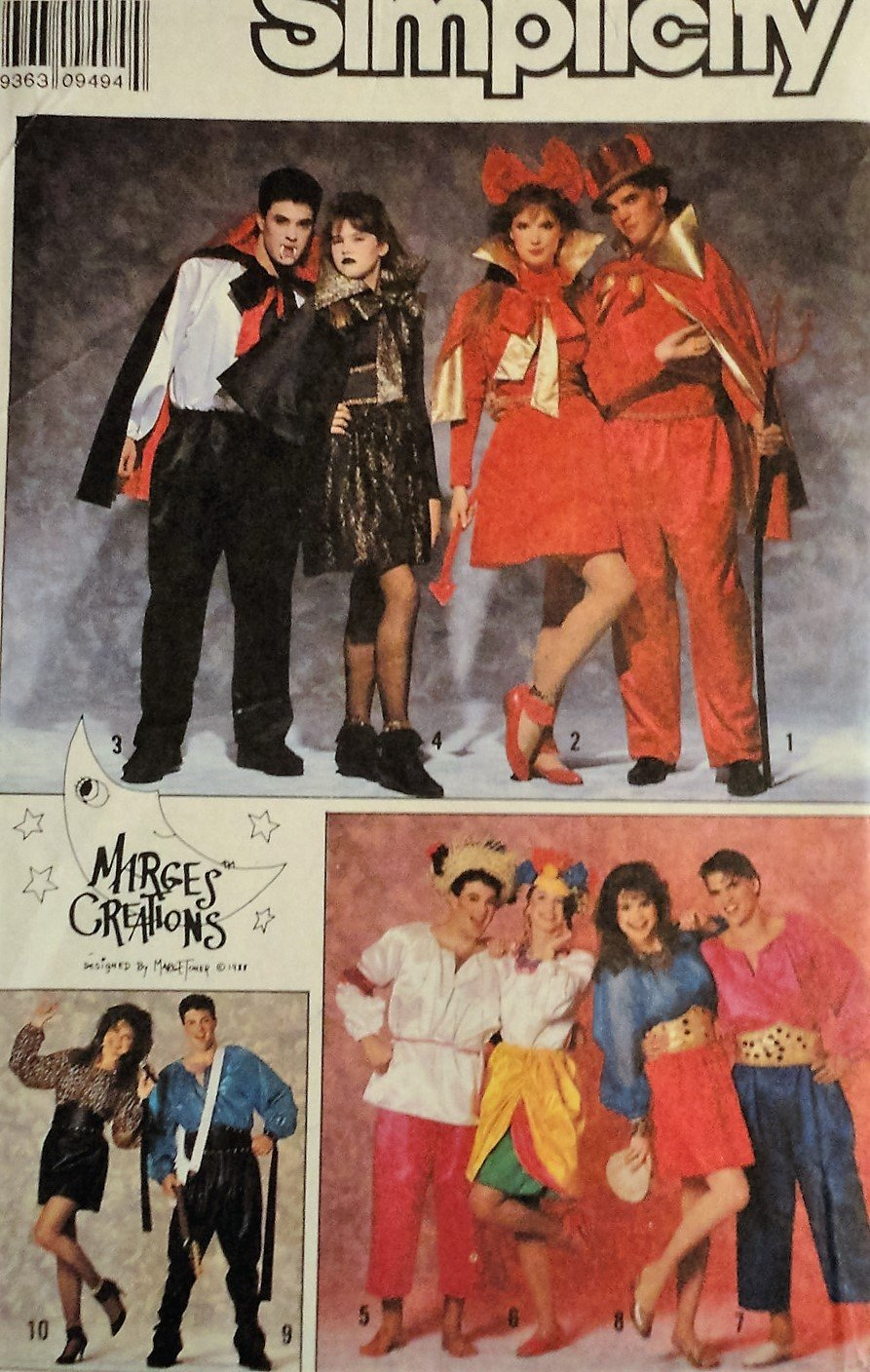 Simplicity 9342 sewing pattern Marges Creations - Misses', Men's or Teen Boys' Costumes. All Sizes