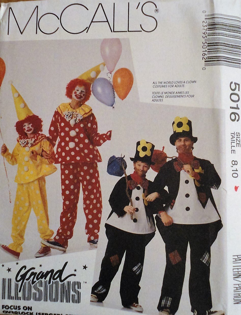 McCall's 5016 Child size 8, 10 Clown and Hobo Costume Sewing Pattern