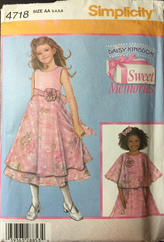 Simplicity 4718 Daisy Kingdom Girl's dress and capulet sizes 3-6