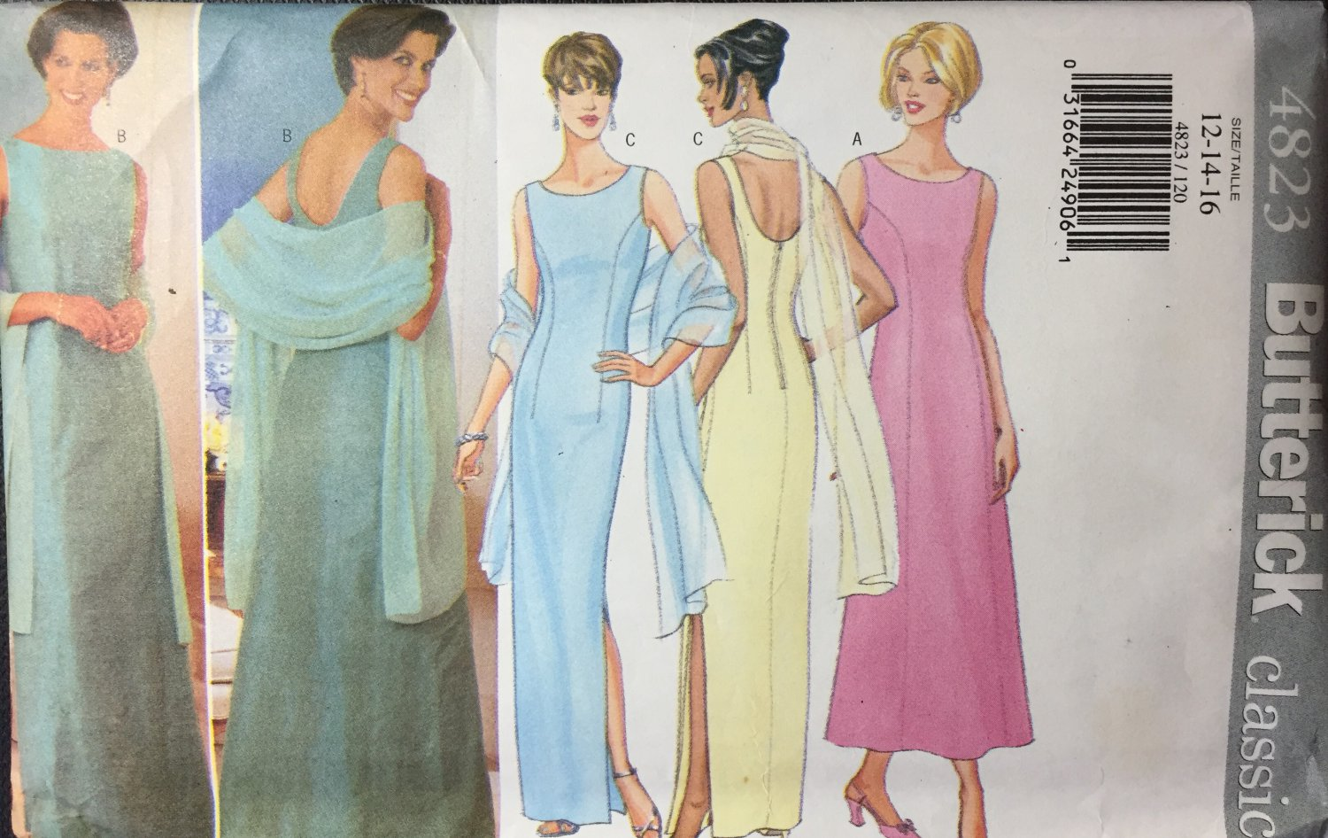 Butterick 4823 Misses evening, prom gown & stole Size 12, 14, 16