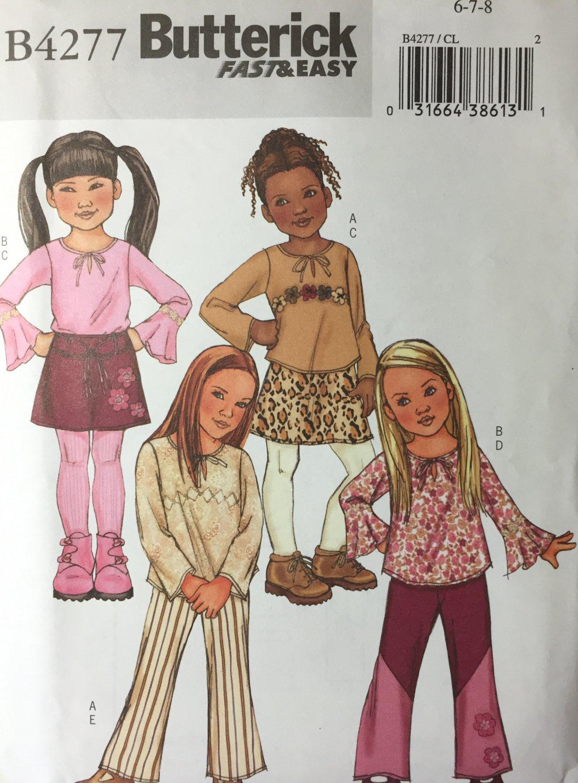 Butterick 4277  Children's Girls' Top Skirt Pants Belt Size 6 7 8