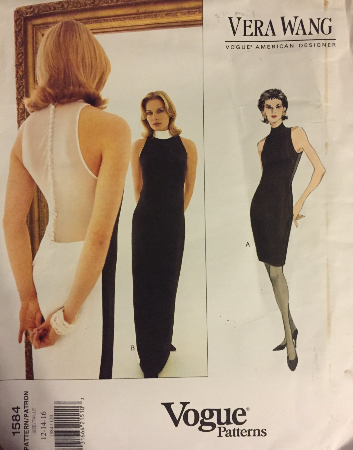 Vogue American Designer Vera Wang  Dress Uncut Sewing Pattern 1584 Size 12 14 16