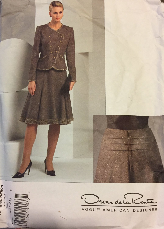 Vogue 2870 Sewing Pattern Oscar De La Renta American Designer Womens' Suit Size 18 20 22