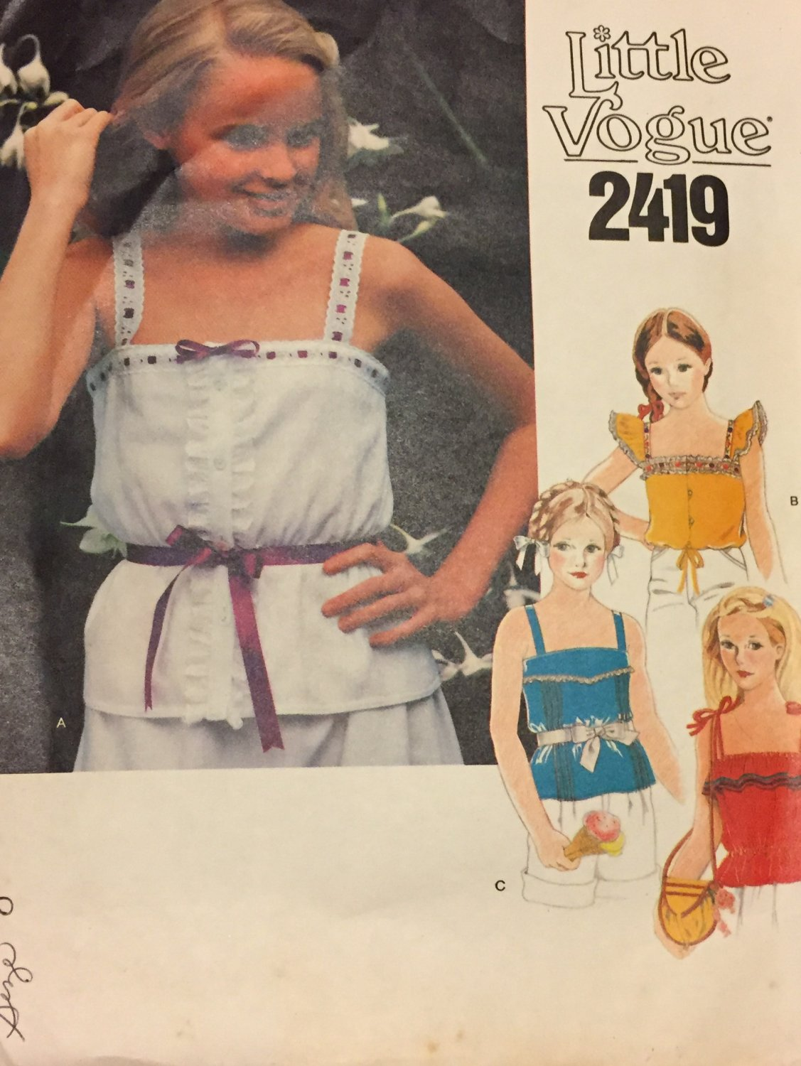 Girl's Flutter Sleeve or Tie Shoulder Top with Gathered Peplum or Tie Waist  Vogue 2419 Size 8