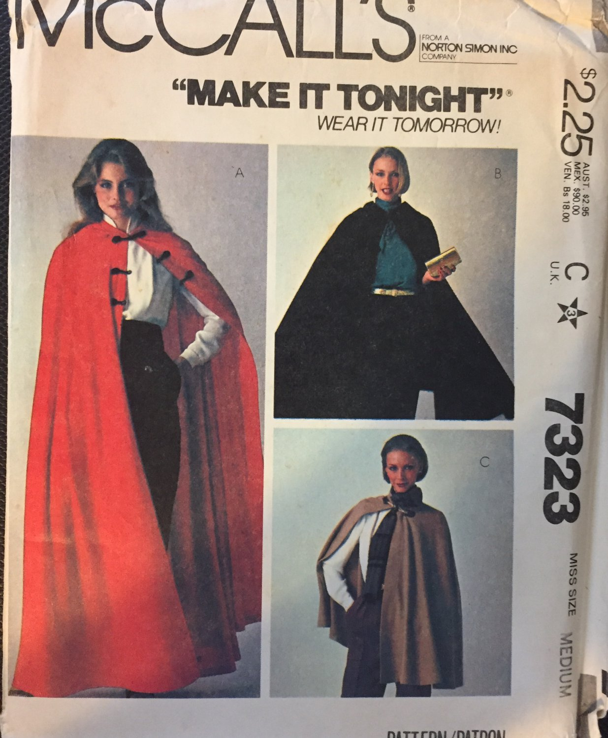 McCall's7323 Short or Long Cape Sewing Pattern Size Medium
