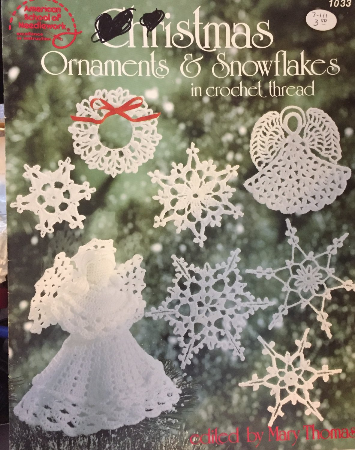 Christmas Ornaments & Snowflakes thread crochet pattern From American School of Needlework SOLD OUT