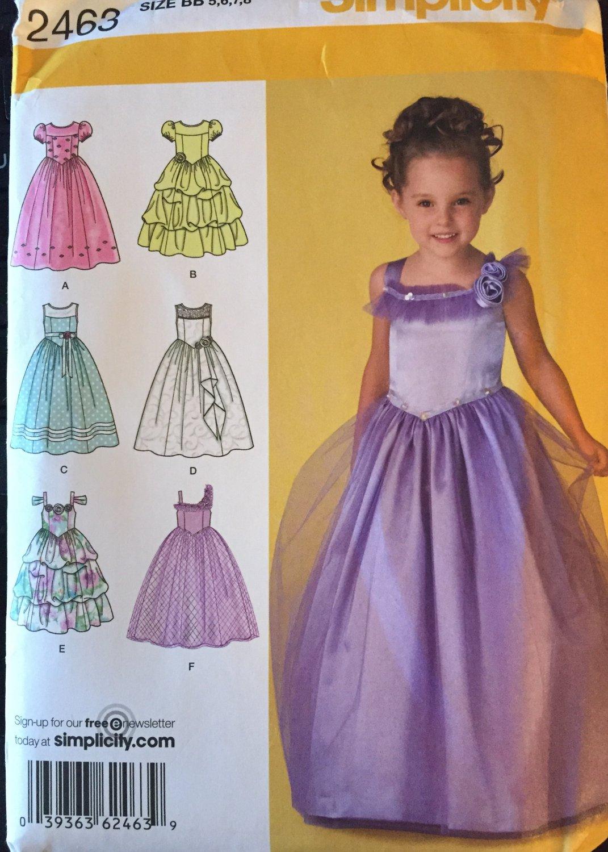 Flower Girl Jr. Bridesmaid Dress Sewing Pattern Simplicity 2463 Sizes 5 - 8