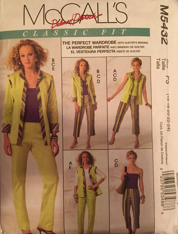 McCall's M5432 Wardrobe Sewing Pattern sizes 16 - 24 Tops, pants, capris, jacket
