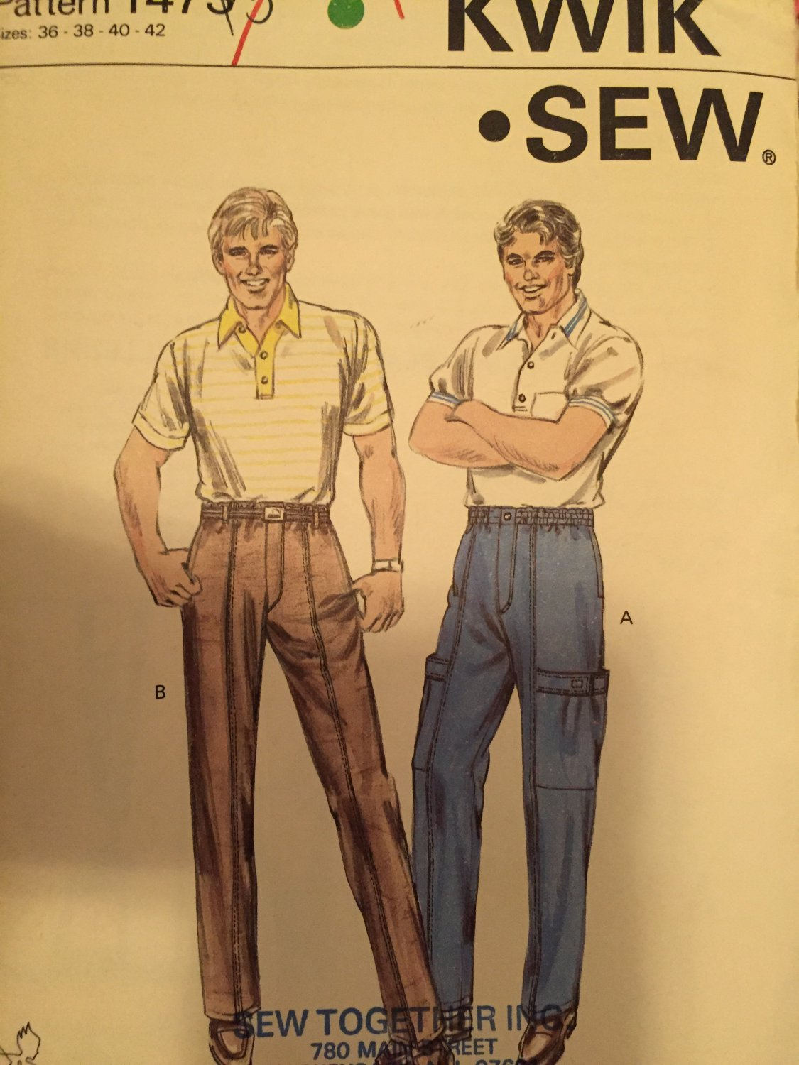 Men's Pants Kwik Sew 1473 Size 36-38-40-42 Sewing Pattern