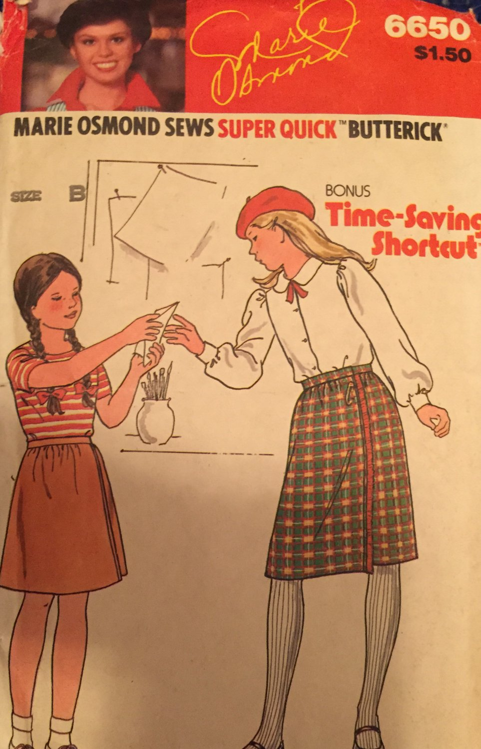 Butterick 6650 Girls Dirndl Wrap Skirt Sewing Pattern Size 8 - 12  Marie Osmond Vintage 70s