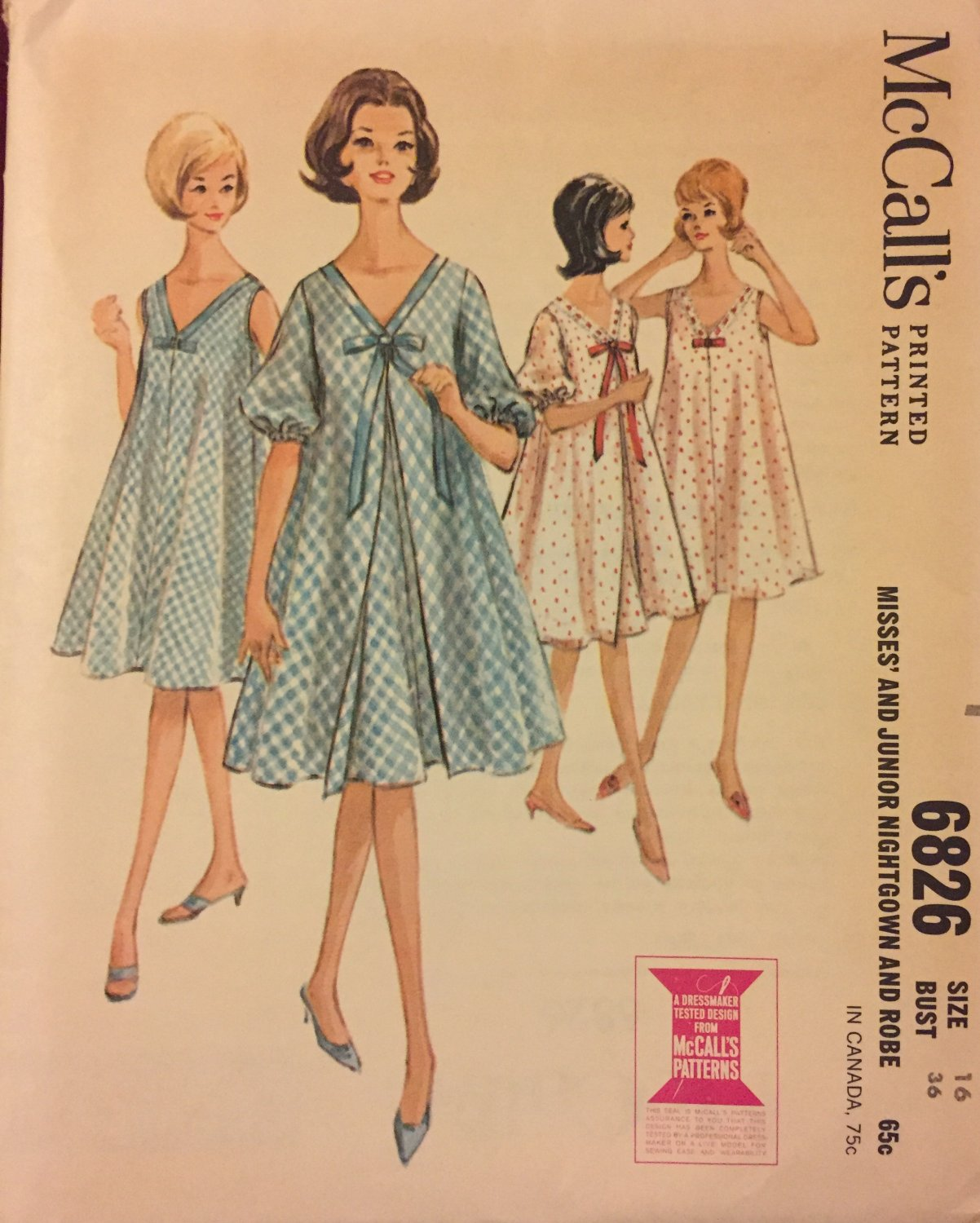 McCall's 6826 Misses' and Junior Night Gown and Robe Vintage Sewing Pattern SOLD OUT