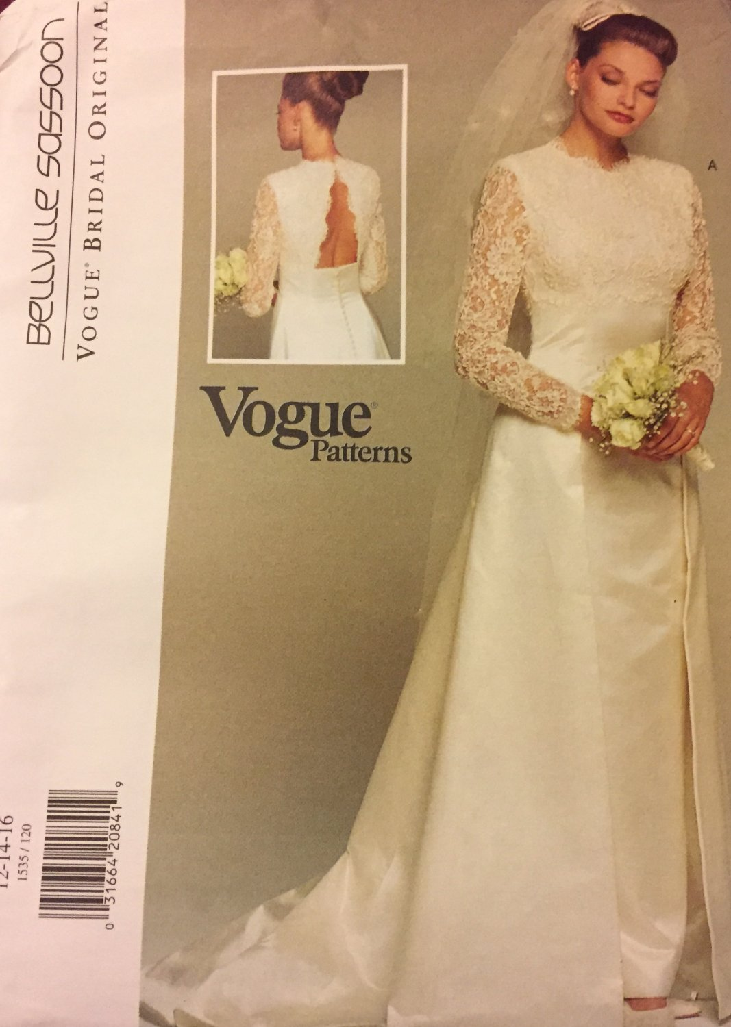 Vogue 1535 Vogue Bridal Original BELLVILLE SASSOON  Bridal Gown Sewing Pattern Sizes 12 - 16