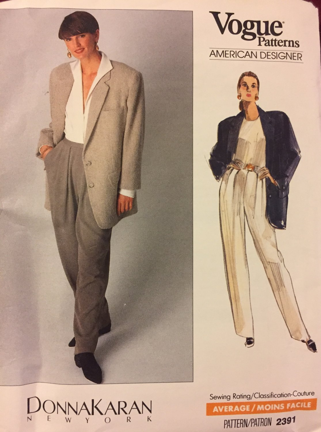 Vogue 2391 Sewing Pattern Donna Karan American Designer Jacket and Pants size 12 - 14 - 16