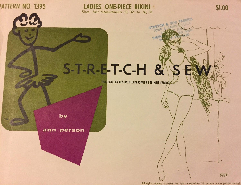 1960s One Piece Bikini Swimsuit Pattern Stretch & Sew 1395 Womens Sewing Pattern Bust 30 -  38 UNCUT