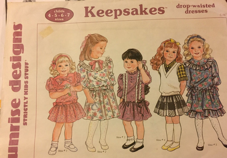 "SUNRISE DESIGNS #C176 ""KEEPSAKES"" DROP WAISTED DRESSES SEWING PATTERN - CHILDS SIZES :4 - 5 - 6 - 7"