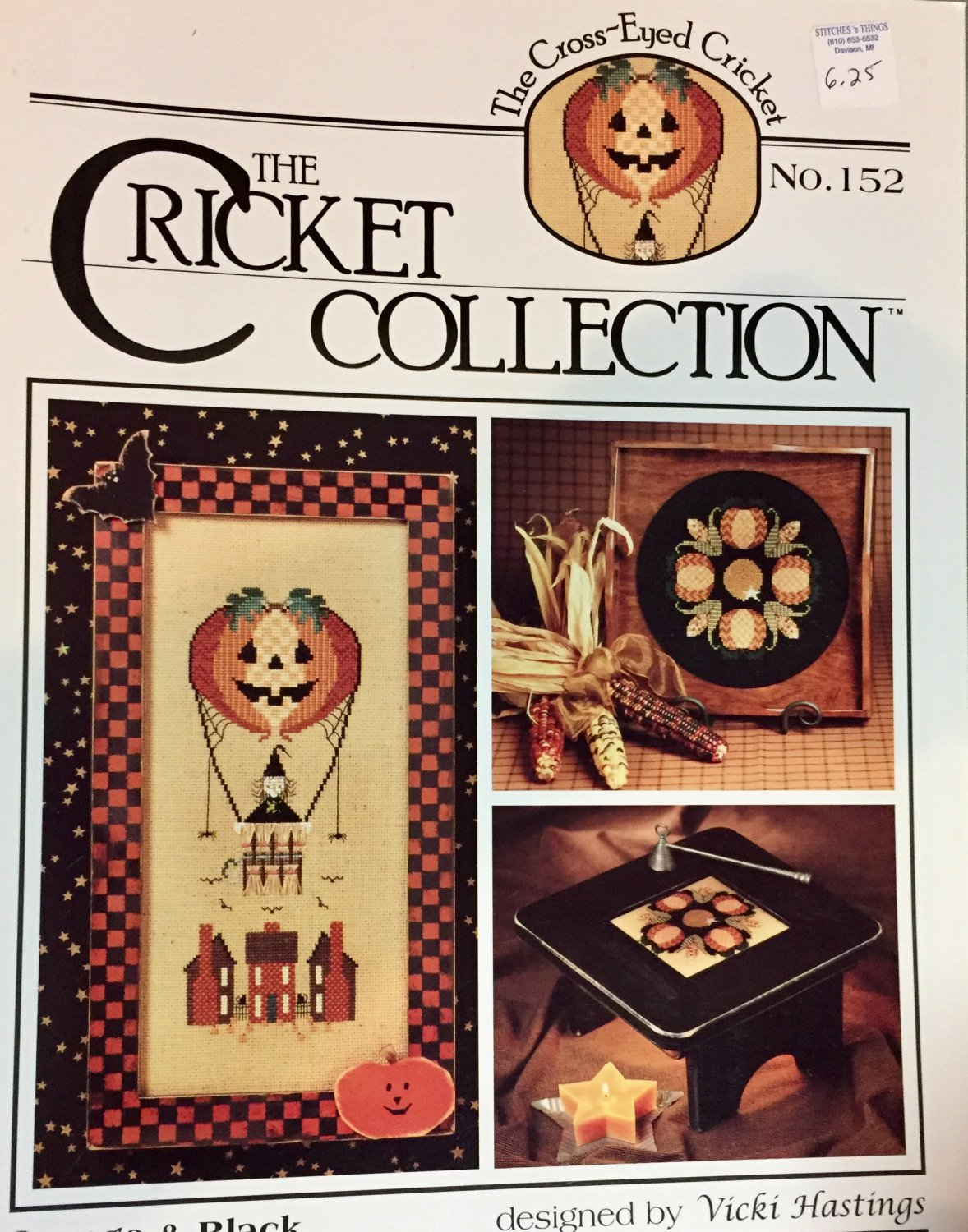 The Cricket Collection 152 Orange & Black Fall Halloween theme cross stitch pattern
