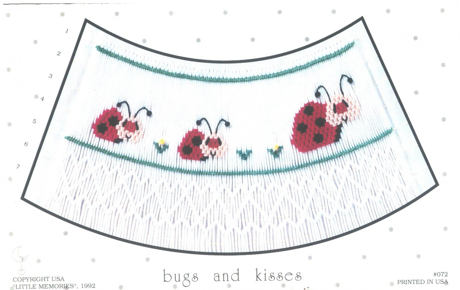 Bugs and Kisses Little Memories Smocking Plate Lady Bugs #072 Sewing Smocking design