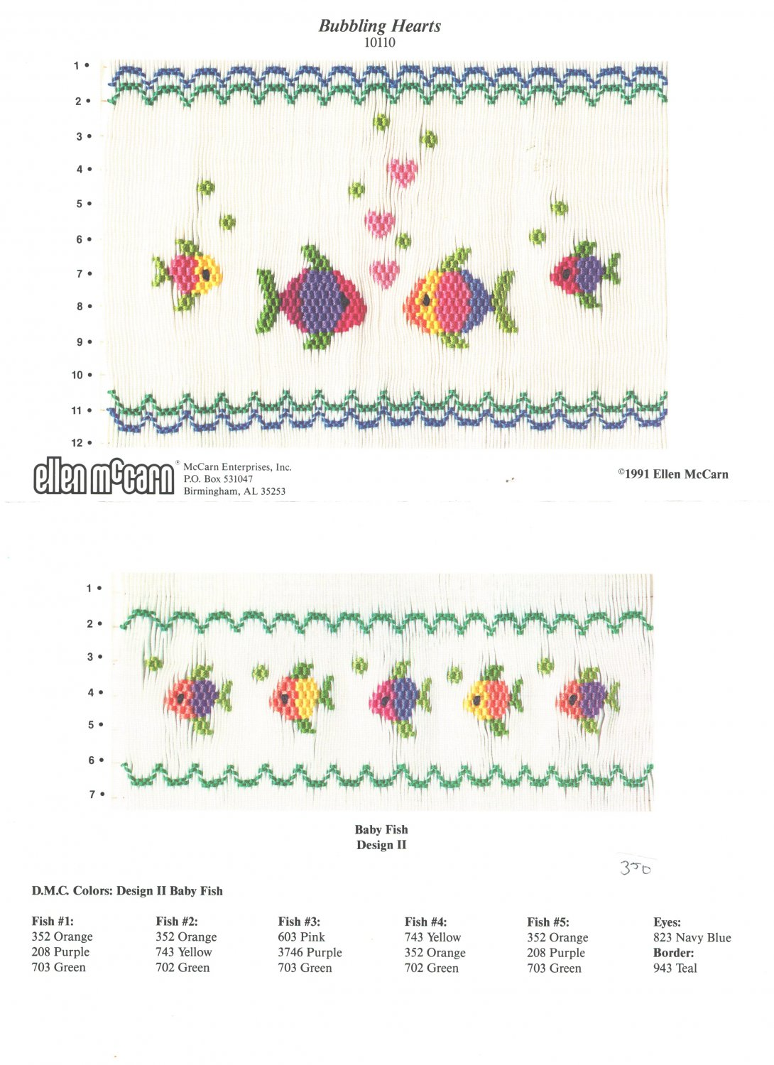 Bubbling Hearts Ellen McCarn Smocking Plate Fish #10110 Sewing Smocking design