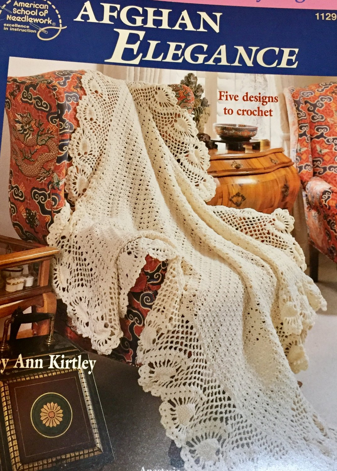 Afghan Elegance American School of Needlework 1129  Blanket Afghans Crochet Pattern