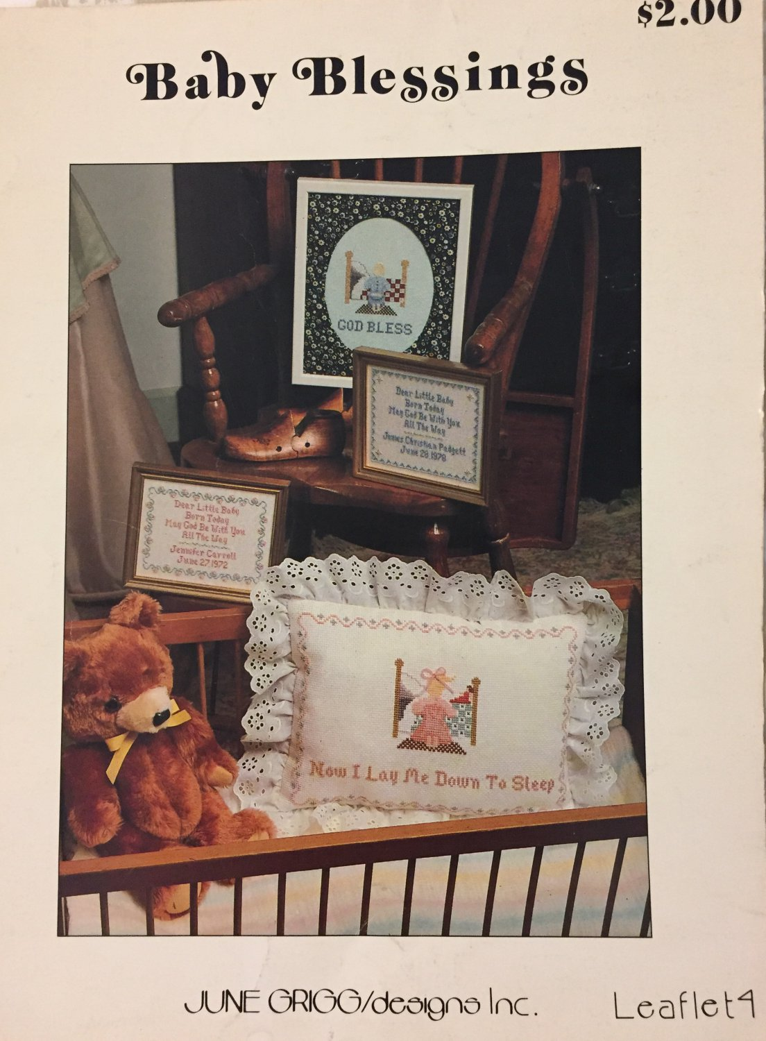 Baby Blessings Cross Stitch Pattern June Grigg designs Inc. Leaflet 4