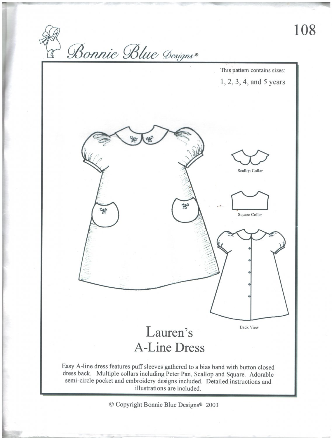 Lauren's A-Line Dress Bonnie Blue Designs 108 Sizes 1-5 years