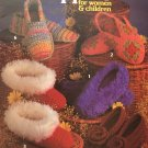 Leisure Arts 205 Crocheted Slippers Pattern for Women & Children