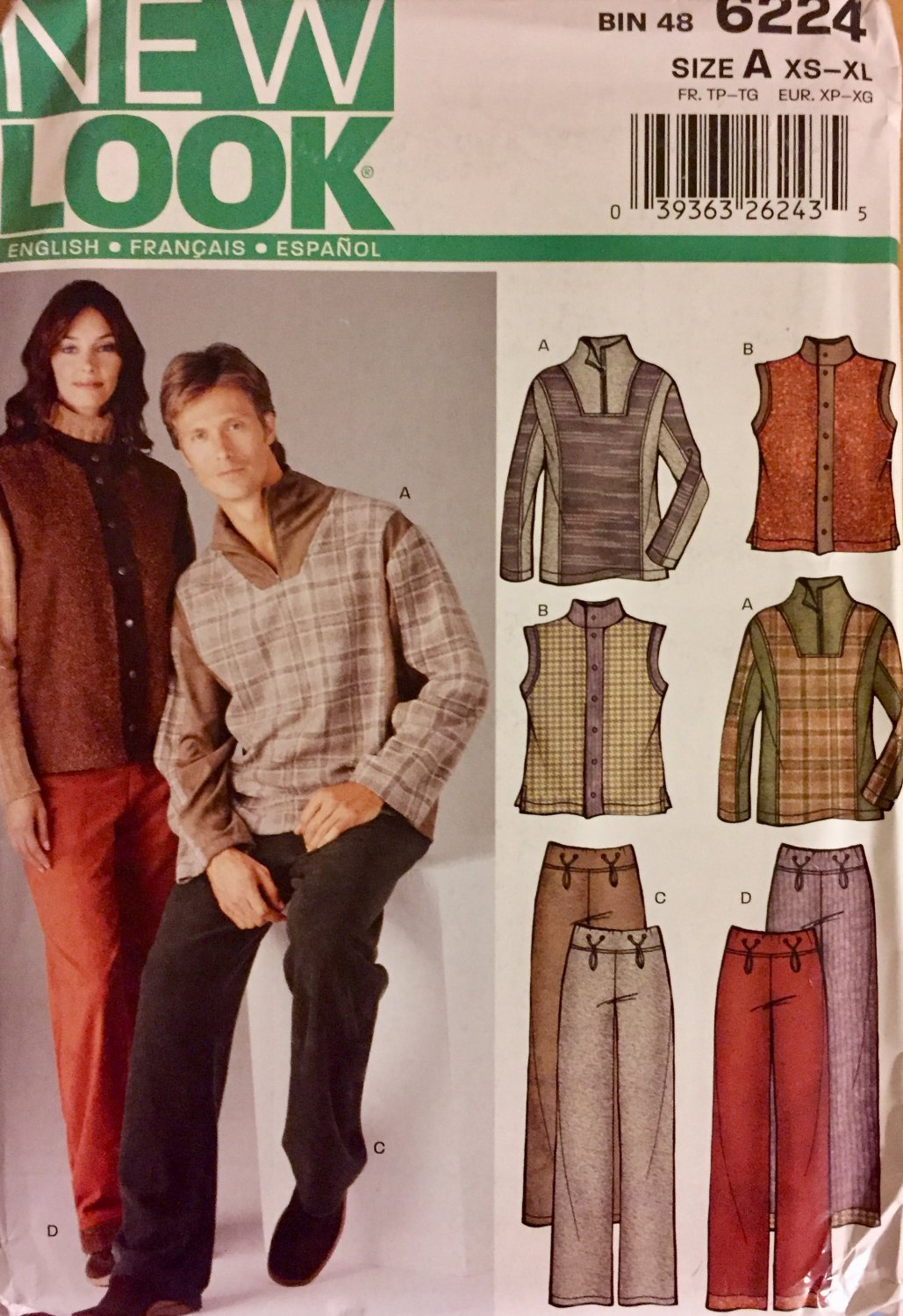New Look 6224 Vest Slacks and Pullover Top Sewing Pattern size A  XS to XL Men or Women