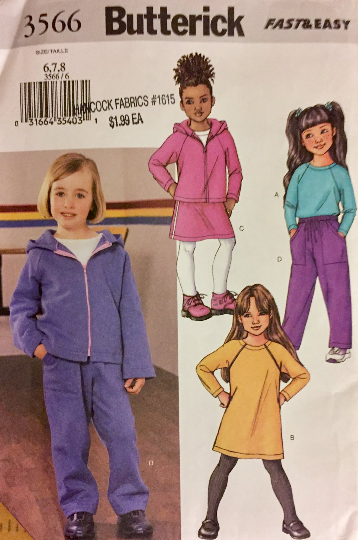 Butterick 3566 Children's Girls' Top  Dress Pants Hoodie Jacket Size 6 7 8