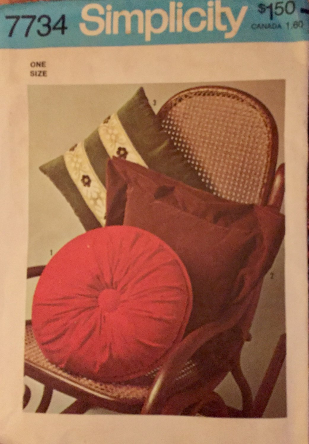 Simplicity 7734 Sewing Pattern 3 Types of Pillows  1976 vintage pattern