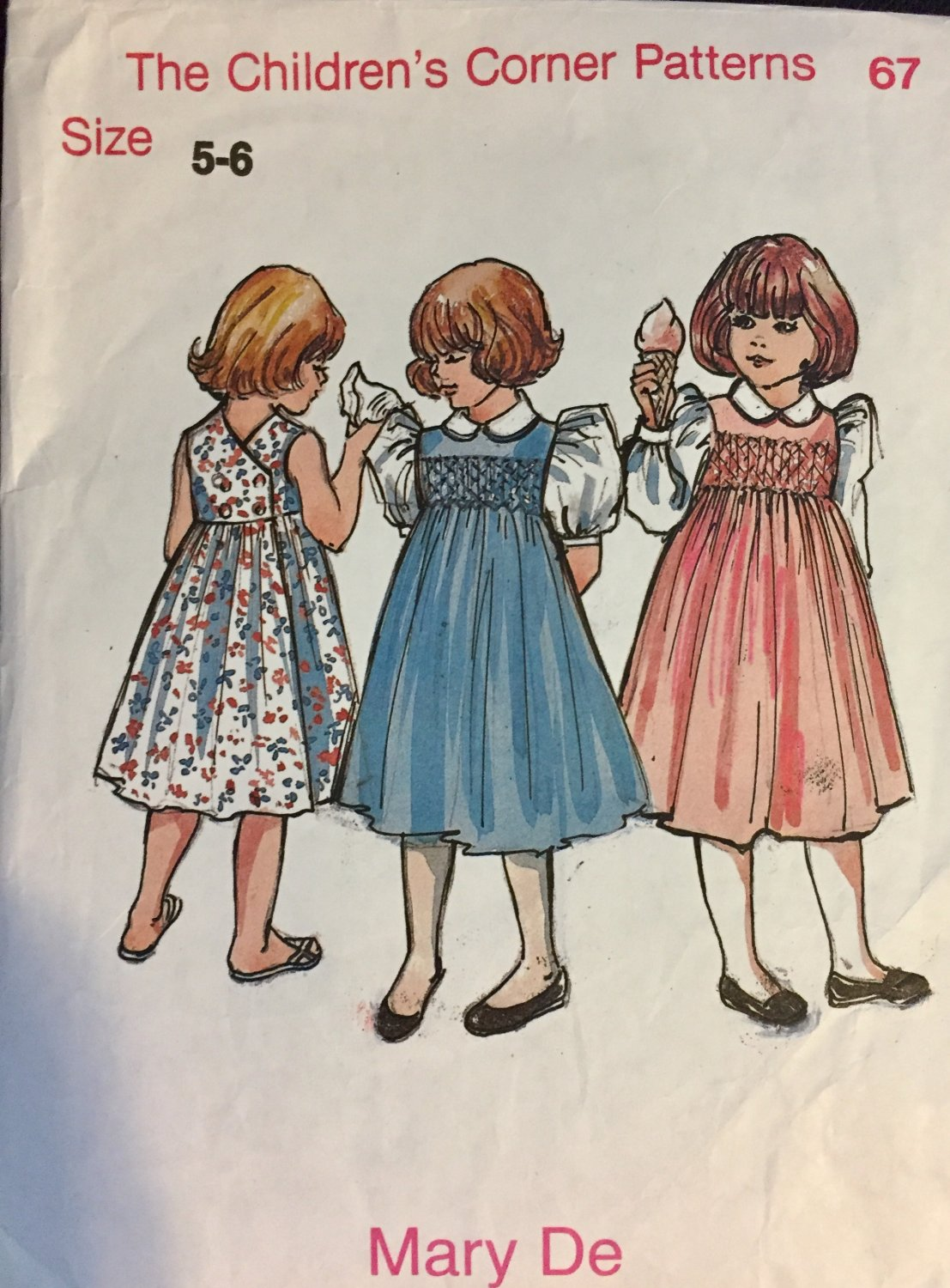Childrens Corner  Sewing Pattern with Smocking Mary De 67 Size 5-6