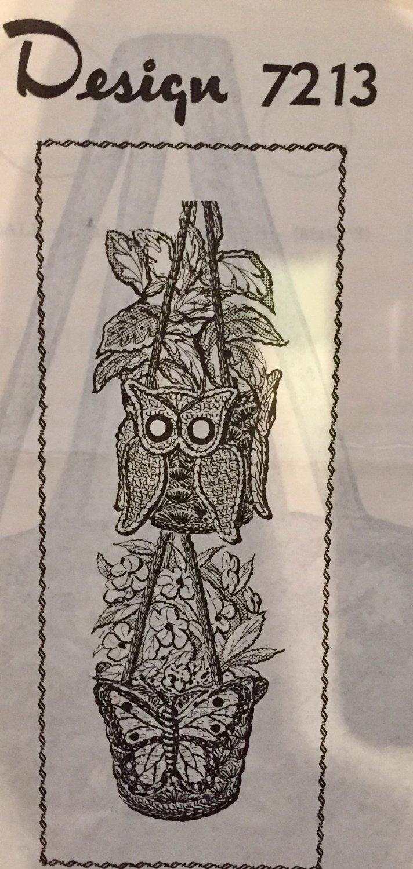 VINTAGE Mail Order Pattern 7213 Owl and Butterfly Flower pot hanger Crochet Pattern